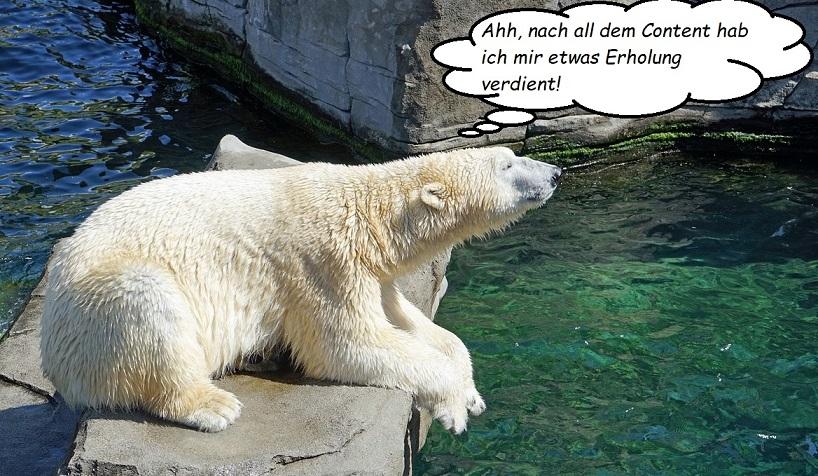 Content-Eisbär genießt seine Mittagspause.