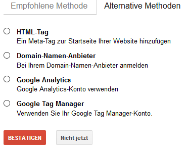 Die alternativen Methoden der Search-Console-Anbindung.