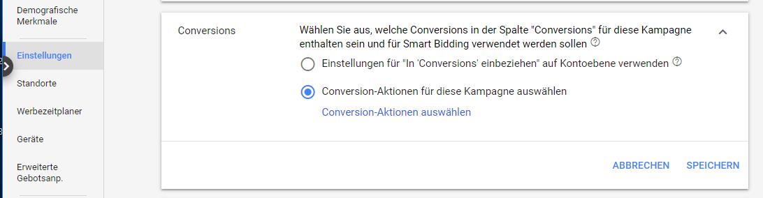 Conversion-Aktionen für eine Kampagne in Google Ads auswählen