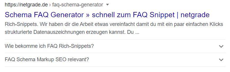 FAQ-Auszeichnung wird in der Google Suche angezeigt.