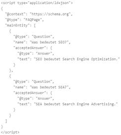 Mit dem JSON-LD Schema Generator kann man schnell FAQPage Markups erstellen.