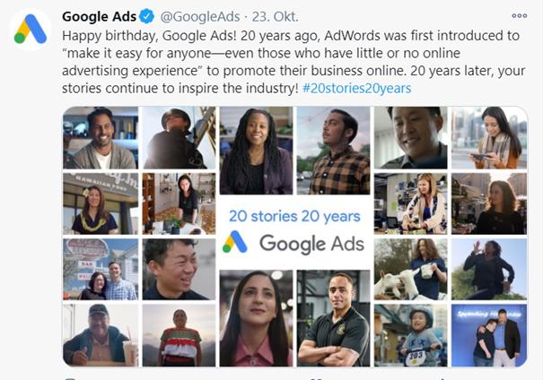 Google Ads, ehemals Google Adwords, wurde 20 Jahre alt.