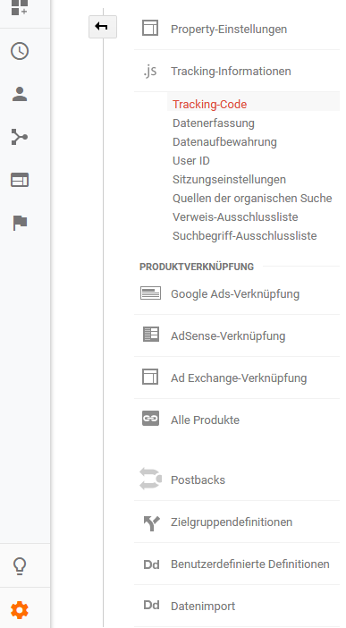 Ihren Google Analytics Tracking Code erhalten Sie direkt in Ihrem Analytics-Konto.