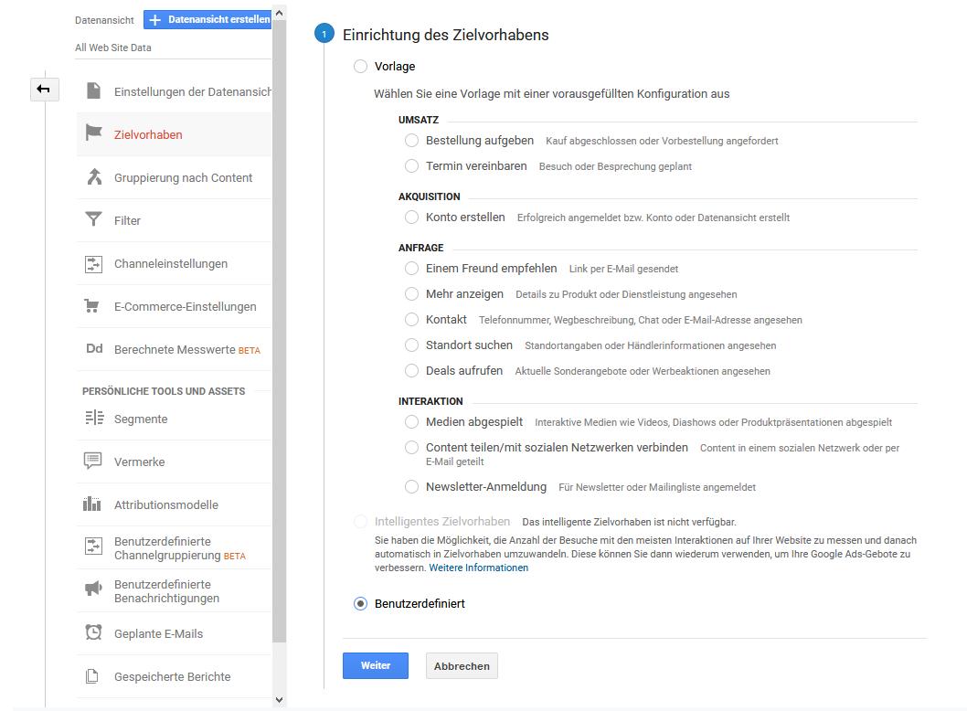 Conversion Tracking mittels Google Analytics ist einfach mittels Zielvorhaben einzurichten.