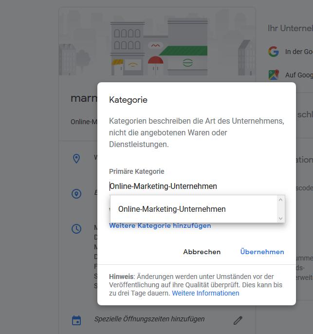 Füllen Sie Ihr My-Business-Profil mit Kategorien. Das liefert Google und dem Nutzer mehr Infos!