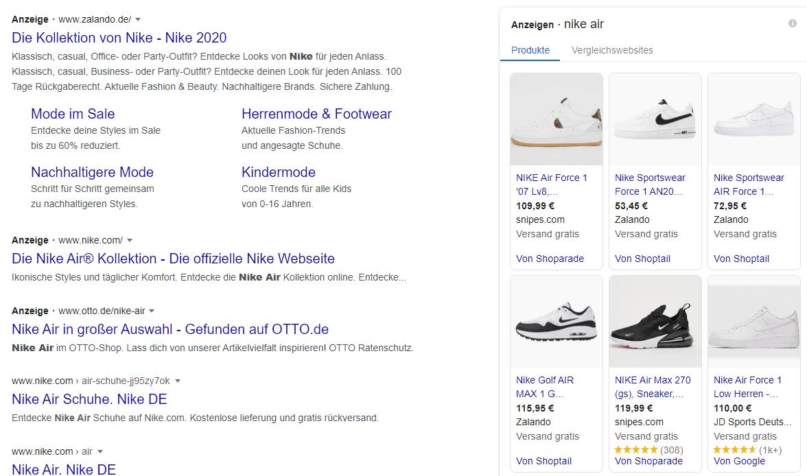 Die Google-Shopping-Funktion im SERP spielt für die Klickrate eine wichtige Rolle.