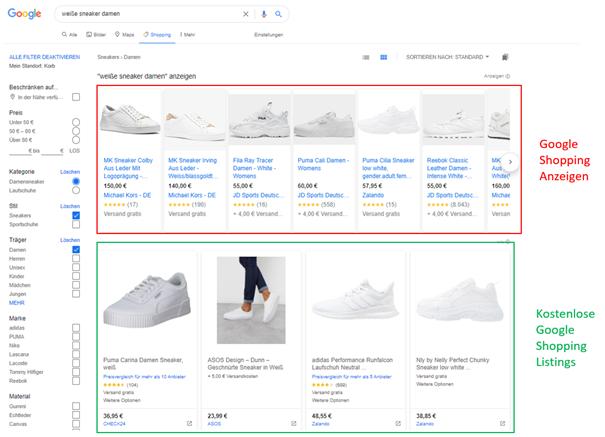 Unterschiede kostenlose Shopping Anzeigen und bezahlte Ads