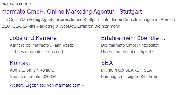 Google-Sitelinks im SERP spielen für die Klickrate eine Rolle.