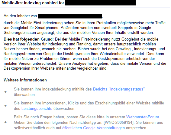 Die Mitteilung, dass man in den Mobile-First-Index aufgenommen wurde. Für SEO ist das eine wichtige Info!
