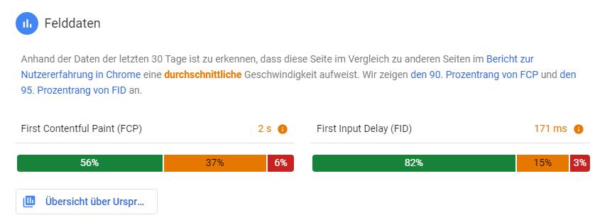 In den Felddaten listet PageSpeed Insights Nutzererfahrungen in Chrome auf.