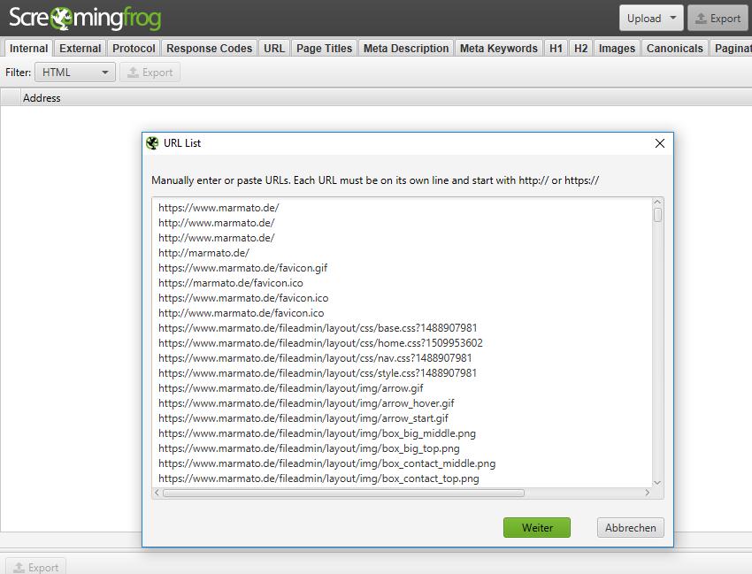 Man kann bei Screaming Frog eine URL-Liste manuell hochladen und crawlen lassen.