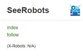 SeeRobots gibt an, ob die Webseite indexiert wird oder nicht.
