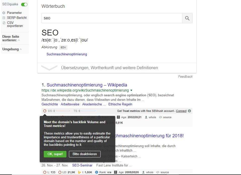 Das Plugin SEOquake liefert einen guten Rundum-Check zur Webseite.