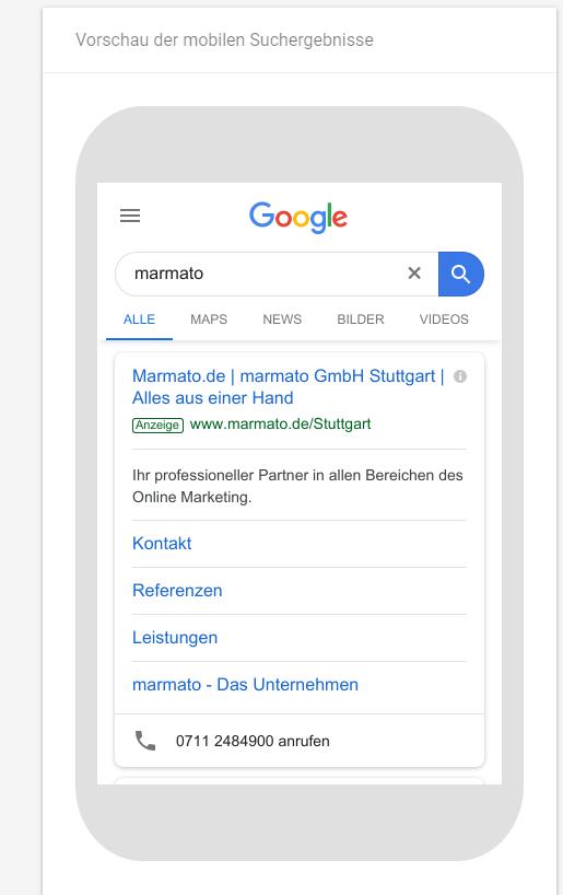 So kann ein mobiles Suchergebnis aussehen.