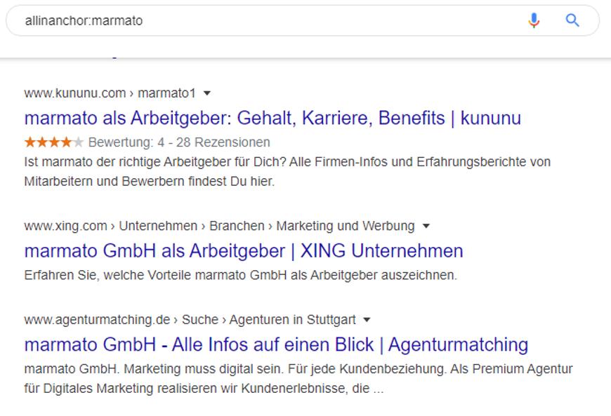 Welche Websites werden auf ein spezielles Keyword verlinkt? Der Anchor-Suchoperator zeigt es!