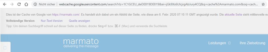 So sieht die marmato-Website im gecachten Zustand aus.