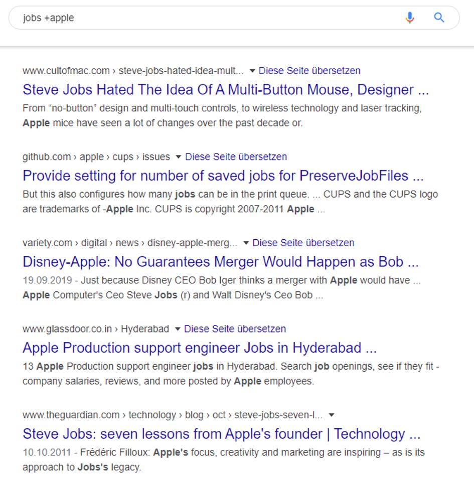 Mit dem Plus-Symbol präzisiert man die Google-Suche.