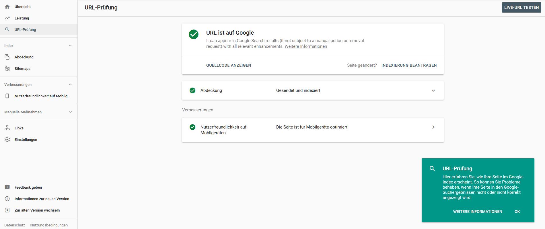 Die neue Search Console macht eine genaue URL-Prüfung möglich.