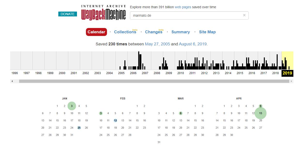 Mit der Wayback Machine können alte Website-Versionen abgerufen werden.