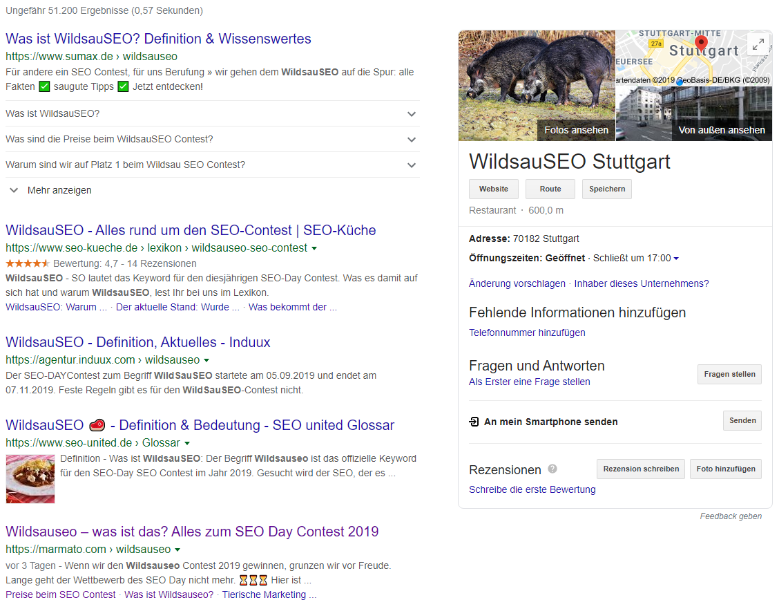 Das aktuelle Suchergebnis für Wildsauseo.